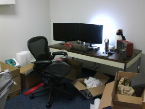Wide view of temporary editing desk