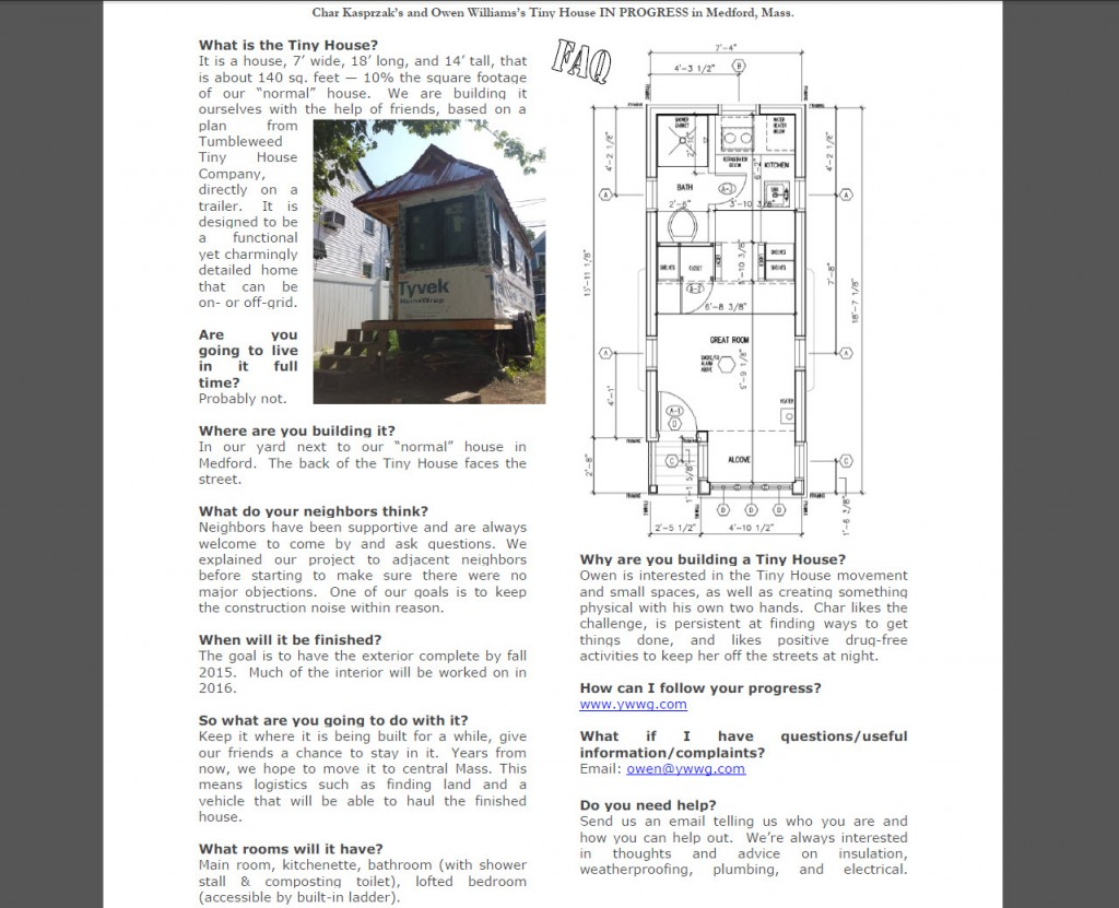 Tiny House 2015 FAQ